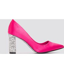 na-kd shoes glitter heel satin pumps - pink,multicolor