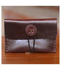 leather business card holder, 'dark batavia brown' (indonesia)