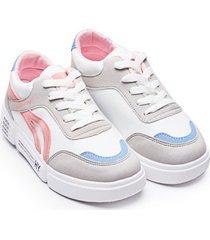 tenis mujer gris azul y rosa color blanco, talla 38
