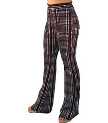 7ea63391a calça 101 resort wear flare cintura alta xadrez preto-branco-vermelho