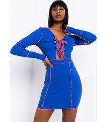 akira give me all you got stitch trim lace up mini dress