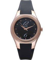 manhattan - orologio nero in silicone, ghiera oro, quadrante nero per donna
