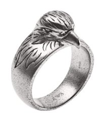 emporio armani men's eagle head stainless steel cocktail ring