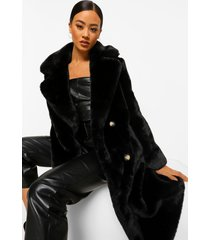 pluizige faux fur jas met dubbele knopen, black
