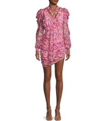 for love & lemons women's cheyenne floral ruched dress - carnation - size s