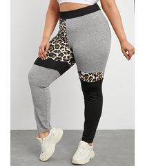 yoins plus talla leopardo patchwork correa elástica yoga pantalones leggings