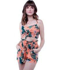 top alça floral amarração pop me feminino