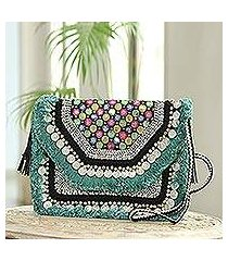 embellished jute shoulder bag, 'bollywood color' (india)