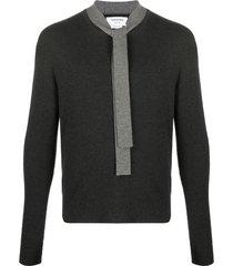 thom browne merino wool tie neck jumper - grey