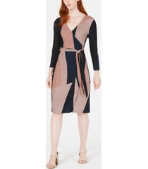 bar iii colorblocked shine knit wrap dress, created for macy's