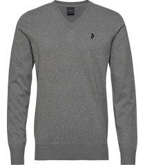 m classic v-neck stickad tröja v-krage grå peak performance