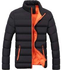 chaqueta algodon hombre invierno acolchada 1921 negro naranja