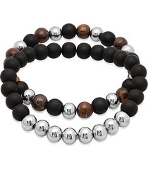 anthony jacobs men's 2-piece tiger eye & lava beaded stretch bracelets