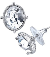 2028 silver-tone oval stud earrings made with swarovski crystals