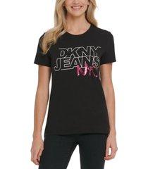dkny jeans sequin logo print t-shirt