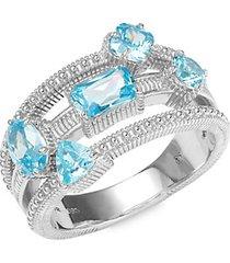 multi-gemstone & sterling silver ring