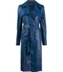 federica tosi belted midi coat - blue