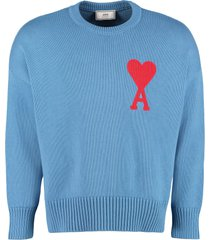 ami alexandre mattiussi cotton blend crew-neck sweater