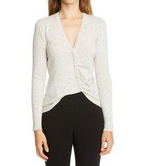 women's altuzarra ruched front cashmere cardigan, size medium - ivory