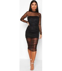 petite dobby mesh high neck ruched midi dress, black