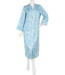 miss elaine woven long satin zipper robe