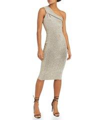 women's reiss lordes metallic one-shoulder knit sheath dress, size x-small - metallic