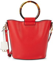 faux leather ring bucket bag