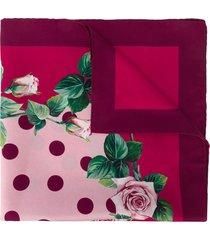 dolce & gabbana rose-print square scarf - pink