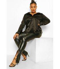 plus oversized satijnen blouse, black