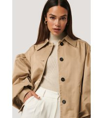 na-kd trend balloon sleeve short jacket - beige