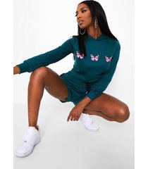 vlinder sweater met capuchon en shorts set, emerald
