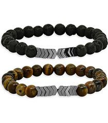 2-piece tiger eye & lava beaded stretch bracelets