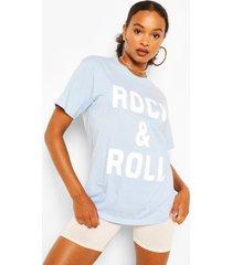 rock & roll slogan t-shirt, light blue