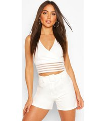 rib waist wrap crop top, ivory