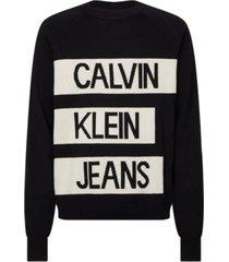jersey de algodón peinado con logo negro calvin klein