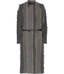 issey miyake paneled tassel trench coat - grey