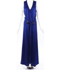 barbara bui crinkled maxi dress blue sz: l