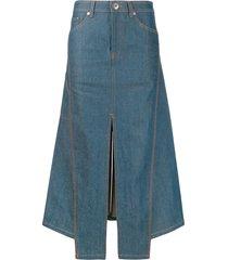lanvin slit asymmetric denim midi skirt - blue