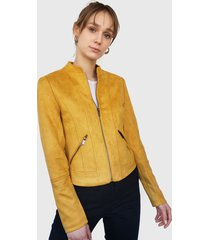 chaqueta vero moda biker amarillo - calce ajustado