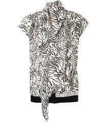 proenza schouler zebra print short sleeve scarf top - white
