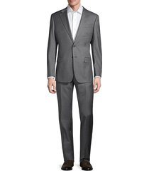 armani collezioni men's solid wool suit - grey - size 50 (40) r