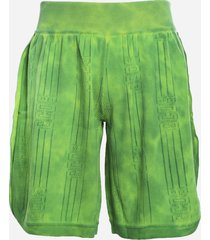 gcds cotton shorts with tie-dye motif and perforated logo