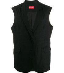 art school double breasted sleeveless blazer - black