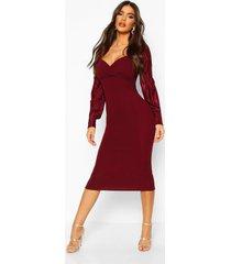plisse pleated sleeve wrap detail midi dress, berry