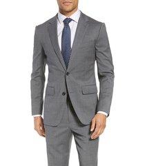 men's big & tall bonobos jetsetter slim fit stretch wool blazer, size 40 l - grey