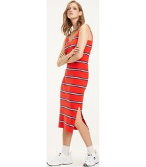 tommy hilfiger women's knitted stripe dress flame scarlet - xl