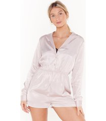 womens love to sleek satin jaquard teddy - mauve