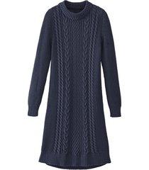 comfortabele gebreide jurk met opvallend kabelpatroon, nachtblauw 40/42