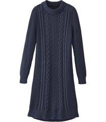 comfortabele gebreide jurk met opvallend kabelpatroon, nachtblauw 36/38