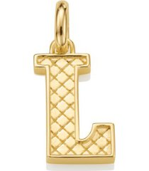 alphabet pendant l, gold vermeil on silver
